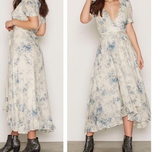 Denim & Supply Floral Print Maxi Wrap Dress LG